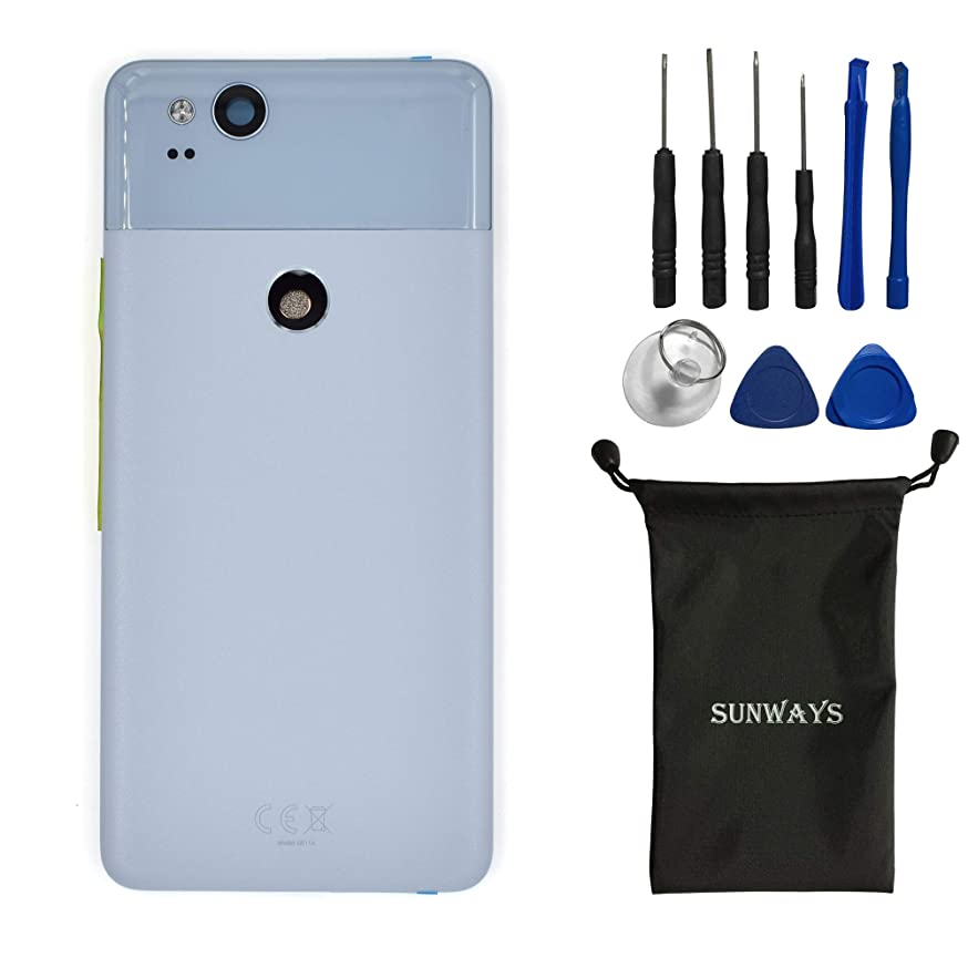 (Metallic Material) sunways Battery Case +Adhesive +Rear Camera Glass Lens +Volume Button +Power Button Replacement for Google Pixel 2(Kinda Blue)