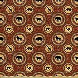 ABAKUHAUS Safari Satin Stoff als Meterware, Afrika-AFFE