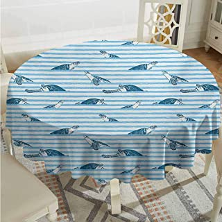 Lauren Russell Overlay Round Tablecloth Striped Turtles and Blue Stripes Abstract Print Aquatic Theme Caretta Ocean Animals Pattern Blue Navy Circular Table Cover Diameter 50