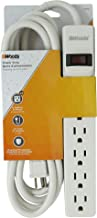 Woods 41436 Power Strip with 6 Outlets and Overload Safety Switch, 8 Foot Cord, White