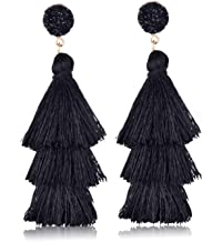 BGAFLOVE Tassel Earrings Colorful Long Layered Thread Ball 3 Tier Big Dangle Drop Earrings Bohemia Fan-shaped Hoop Stud Earrings for Women Girls Party and Daily Wear