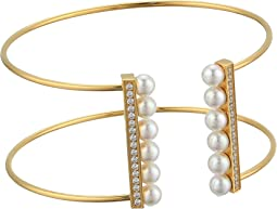 5mm Round Pearls and CZ Accents On A Yellow Plated Titanium Wire Bangle