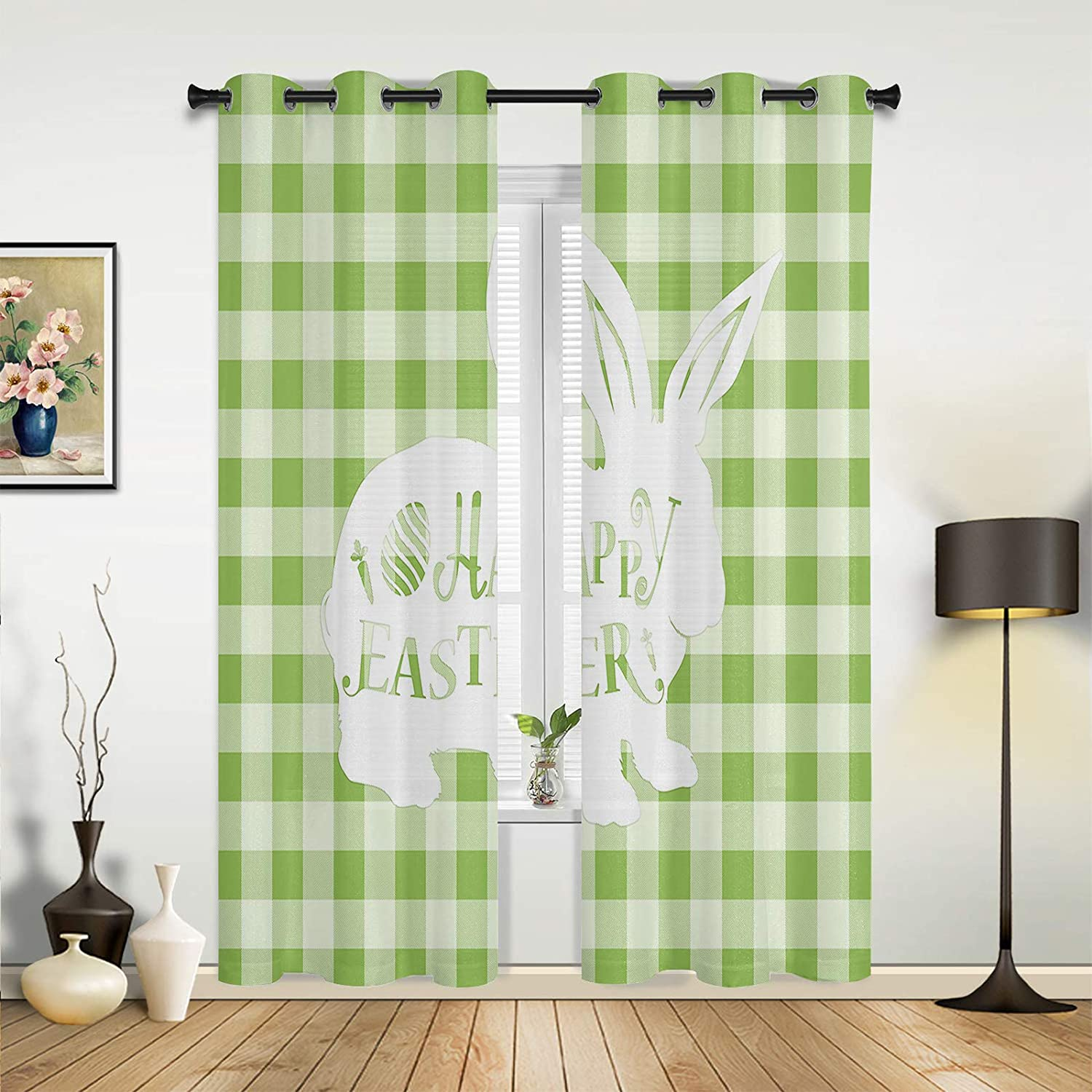 Window Sheer Curtains for Bedroom Room Living Happy specialty shop Easter Cute 67% OFF of fixed price
