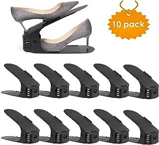 amzdeal - 30pcs Organizadores de Zapatos Ajustables Soportes de Calzado con Ranuras Ahorra 50% de Espacio PP 3 Niveles Alt...