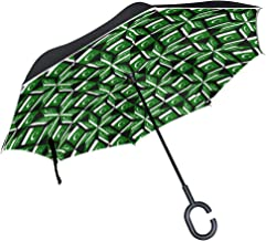 LOIGEIDQ Inverted Umbrella,Pakistan Flag Artascope Flower Double Layer Reverse Umbrella,Windproof UV Protection Big Straight Umbrella with C-Shaped Handle and Carrying Bag
