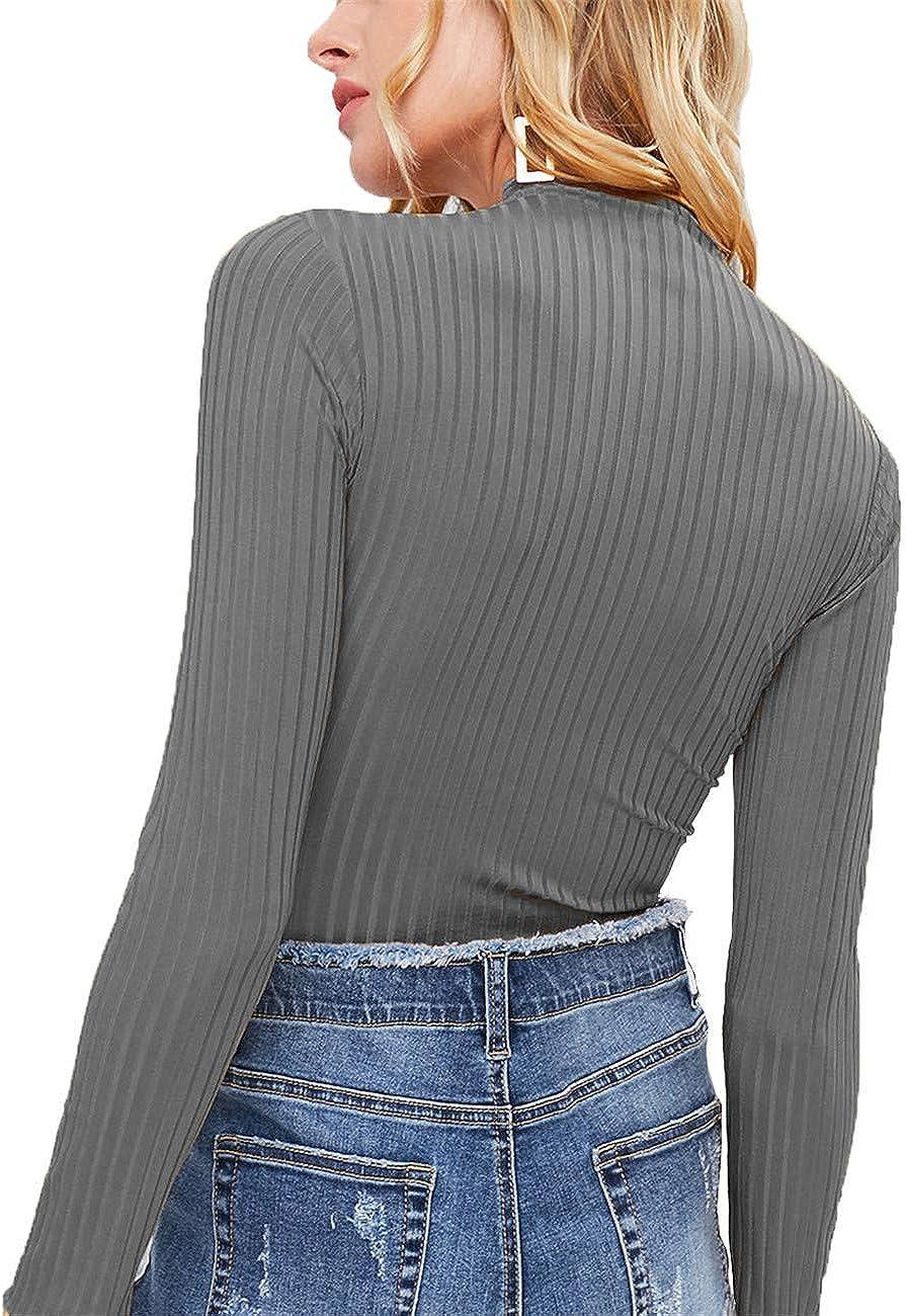 Cuello Medio Alto Monocromo Camiseta de Punto de Manga Larga Top Corto de Mujer Sudaderas Jers/éis