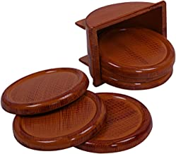 Kuber Industries Wooden Design 6 Pieces Tea Coaster with Stand (Brown) - CTLTC012201