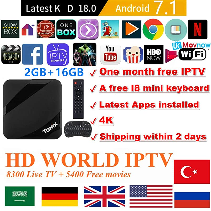 Android TV Box Android 7.1 OS TTV Box Smart Box 2GB 16GB TX3 Max Support USB 3.0 BT 4.1 2.4GHz WiFi 3D 4K Full HD H.265 100M Ethernet +1 Month IPTV Subscription+ Mini Wireless Keyboard Remote rrgguvuz225314