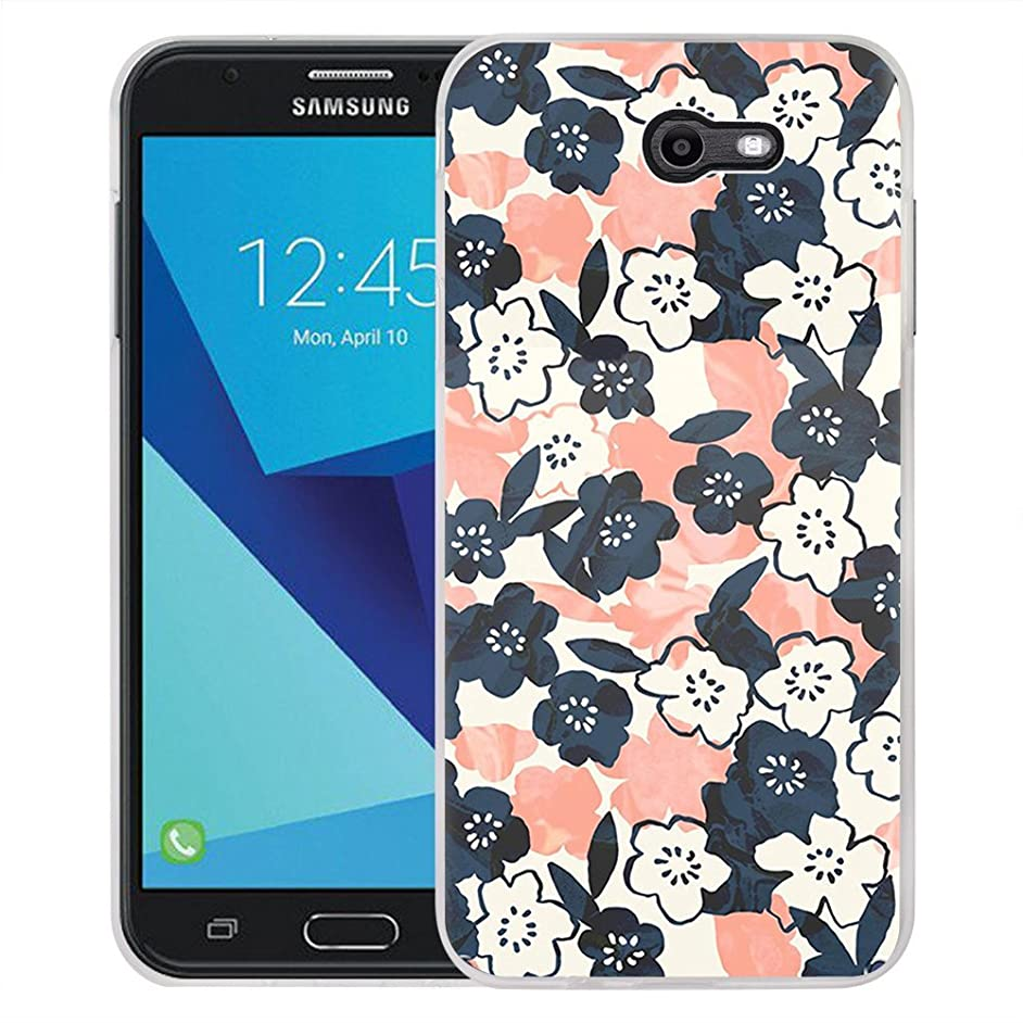 Galaxy J7 V Case, Galaxy J7 Perx Case, Galaxy J7 Sky Pro/Galaxy Halo Case, Viewll Samsung Galaxy J7 2017 Case The blue orange flower
