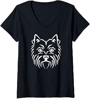 Womens Westie face V-Neck T-Shirt
