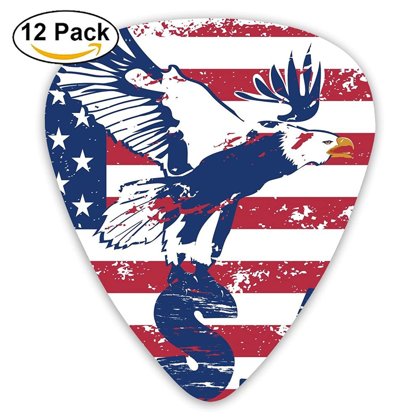 12-pack Fashion Classic Electric Guitar Picks Plectrums American Flag Stars And Eagle Instrument Standard Bass Guitarist