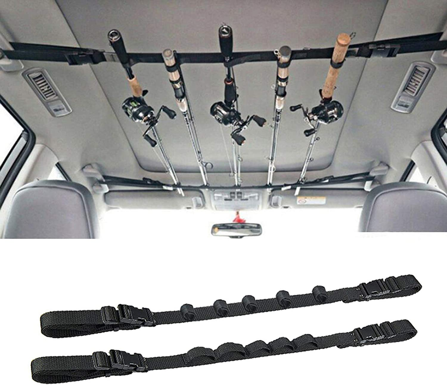 2 Pack Vehicle Fishing Rod Fi Rack Manufacturer direct delivery Holder Car Our shop OFFers the best service Strap