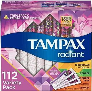 Tampax Radiant Plastic Tampons, Regular/Super/Super Plus Absorbency Triplepack, Unscented, 28 Count, Pack of 4