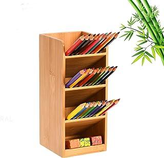 Marbrasse Bamboo Pen Holder for desk, Multi-Functional Desk Organizer, Pen Organizer for Desk, Desktop Stationary Storage ...