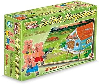 Quebra Cabeça 30 Peças Madeira Os Três Porquinhos - Brinquedo Junges