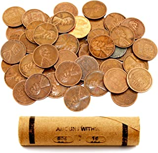 Lincoln Wheat Penny Roll (50 Coins) by AIIZ Collectibles, Mixed Years & Mints (1909-1958 PDS) Circulated Good to Unc in Old Window Wrap, Machine Rolled Penny Roll