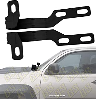 GS Power Engine Hood Hinge Ditch LED Light Mount Brackets for mounting Auxiliary Offroad Pod Work Lights. Fit between hood and cowl panel at windshield base Compatible with 2005-2015 Toyota Tacoma