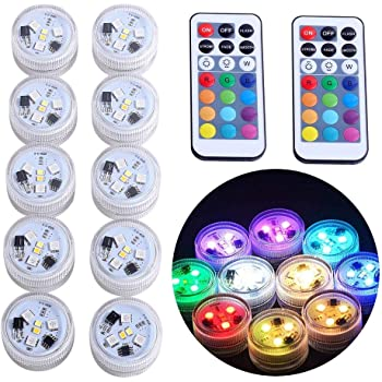 Submersible LED Lights, KUCAM Waterproof LED Tea Lights Candle with Remote Battery Operated,RGB Color Changing for Vase Home Party Wedding Table Centerpieces,10 Pack