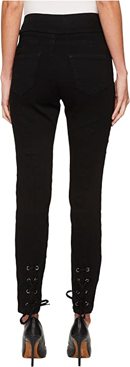 Ivanka Trump - Denim Back Lace-Up Tie Jeans in Black