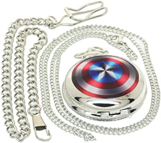 Captain America Quartz Watch Necklace for Men Boys Women Star Silver Metal Case Flip Fob Chain Silver Alloy Shell American Quartz Pocket Watches Gift Clock 1 PC Necklace 1 PC Clip Key Rib Chain