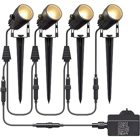 Aogled Spot LED Extérieur 4x3W,COB encastrablet lamp,IP65 Étanche Paysage Lampe Spot 12V,1800 lumen 3000K jardin extérieur led lumière,Éclairage Décoratif pour Garden Yard Pathway(4 pièces)