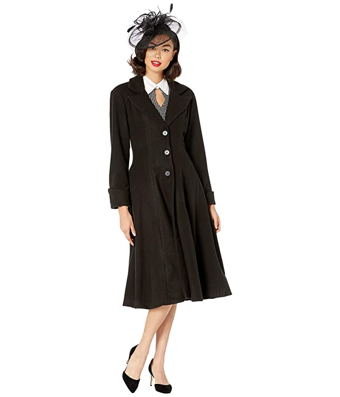 1940s Coats & Jackets Fashion History Unique Vintage Micheline Pitt for Unique Vintage Coat Black Womens Clothing $138.17 AT vintagedancer.com