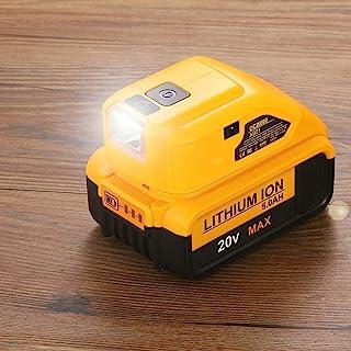 Battery Adapter for Dewalt USB Charger Adaptor 18v Battery xr Lithium-ion DCB090 with USB C & DC Port & LED Work Light - 1...
