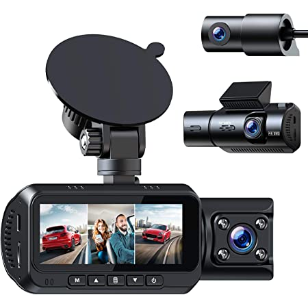 TOGUARD 3 Channel 4K Dash Cam for Cars w/WiFi GPS 1440P+1080P+1080P Front Inside/Cabin and Rear Triple Car Camera w/IR Night Vision, Dual Dash Camera Support 256GB SD Card