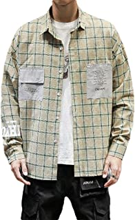 Loyomobak Mens Long Sleeve Plus Size Loose Fit Plaid Button Down Shirts with Pockets