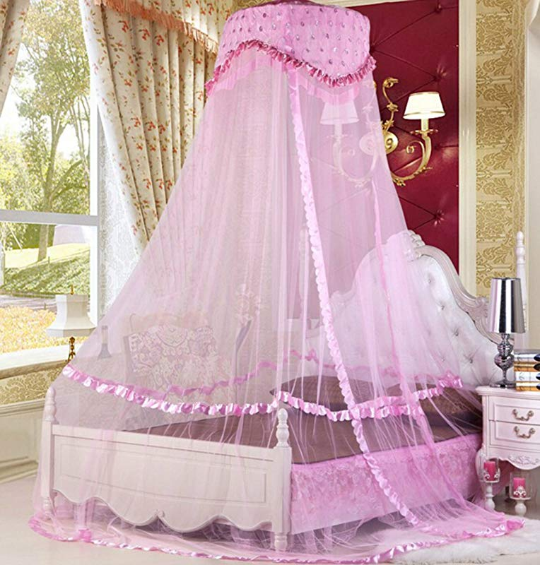 Raxsun Baby Crib Canopy Netting Luxury Princess Bed Net Round Hoop Netting Mosquito Net Bedroom Decor Pink