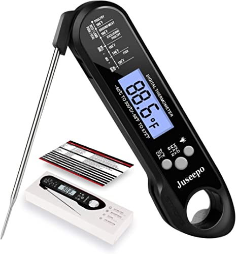 Juseepo Instant Read Waterproof Meat Thermometer - 2s Instant Read Ultra Fast Cooking Thermometer with Backlight & Ca...