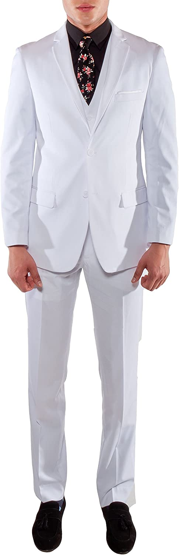 Ferrecci Men's Savannah Collection White Slim Fit 3 Piece Suit Jacket with Vest and Trousers - 36S