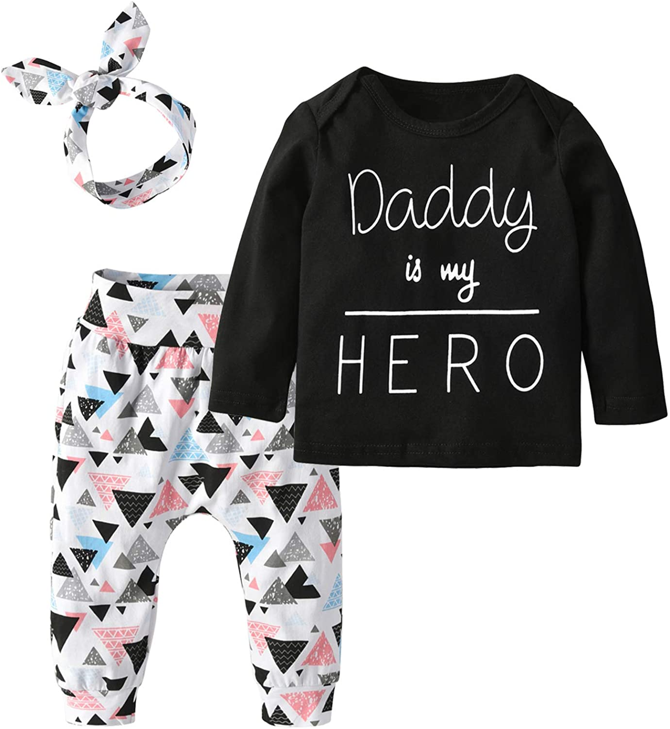 Baby Girls 3Pcs Outfit Set Letters T-Shirt Tops Pants with Headband