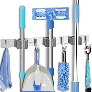 Broom Mop Holder Wall Mount - Tsmine Stainless Steel Wall Mounted Garden Tool Storage Tool Rack Storage & Organization for...