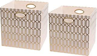 Posprica Storage Bins - 13×13 Foldable Basket Cubes Organizer Boxes Containers Drawers,Geometric Pattern - Cream/Gold,2pcs