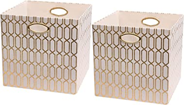 Posprica Storage Bins - Foldable Basket Cubes Organizer Boxes Containers Drawers,Geometric Pattern,Cream/gold-13''×13'',2pcs