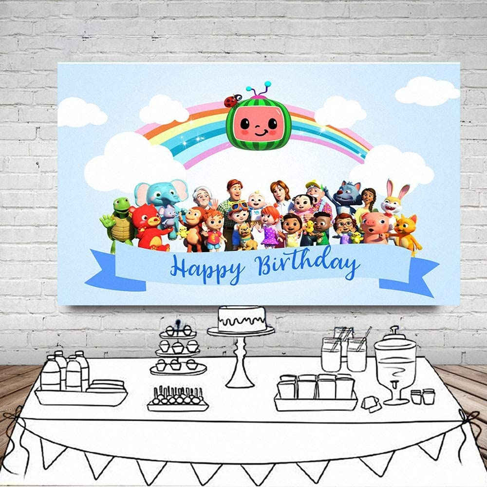 Cocomelon Party Backdrops for Photo Studio Wedding Festival Themed Party Newborn Baby Photoshoot Child Birthday Photo Booth Props Kids Photography Background