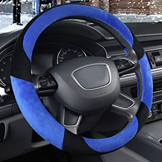 XiXiHao Winter Charm Warm 2018 New Plush Car Steering Wheel Covers for Men Women Blue