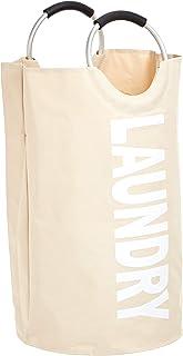 Amazon Basics Panier à linge en tissu avec poignée en aluminium, Beige