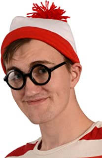 s Red And White Beanie Hat With Nerd Glasses