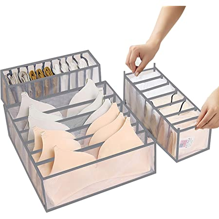 ABClife 3 Pièces Organisateur De Tiroir sous VêTements,Organisateurs d'armoires de Placard et Boîtes de Rangement Lavable Pliables,pour la Lingerie, Soutien-Gorge, Chaussettes et Foulards(Gris)