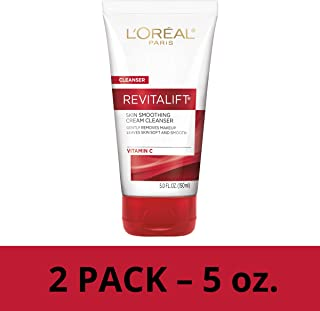 L'Oreal Paris Skincare Revitalift Radiant Smoothing Wet Facial Cream Cleanser with Vitamin C, Gentle Makeup Remover, Face Wash for All Skin Types, 2 count