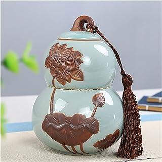 Gourd Shape Boîte de rangement de thé 1 pièce Style chinois Tea Porcelaine Poudre De Stockage Réservoir de stockage Cuisin...