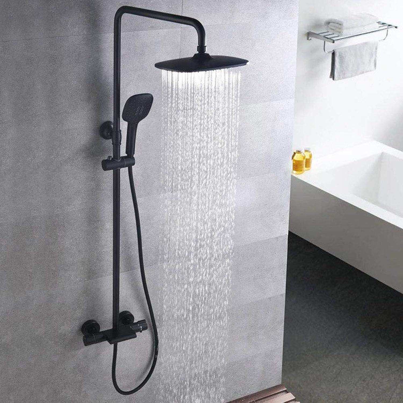 Duscharmaturen Badewanne Wasserhahn Thermostat Badezimmer Duscharmatur Wannenmischer Wandmontage Regendusche Set Mischbatterie,schwarz Shower