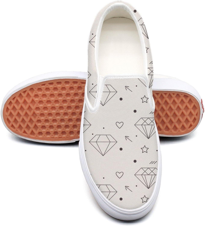 Diamond Heart Pattern-01 Womens Latest Canvas Deck shoes Low Top Lightweight Sneaker For Women Girls