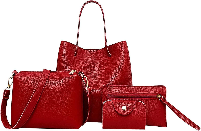 Womens Handbags 4pcs Set Leather Handbag+Crossbody Bag+MessengerBag+Card Package Tote Ladies Travel Satchel Purse