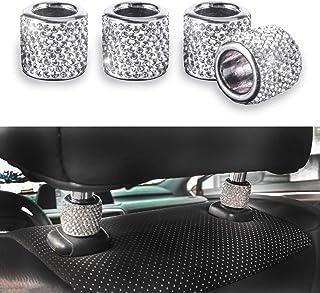 دکوراسیون تکیه گاه صندلی اتومبیل JUSTTOP ، یقه های پشتی 4 تایی اتومبیل ، لوازم جانبی صندلی اتومبیل داخلی Rhinestone ، انگشتر دکوراسیون داخلی اتومبیل الماس Bling Bling Crystal Diamond (سفید)