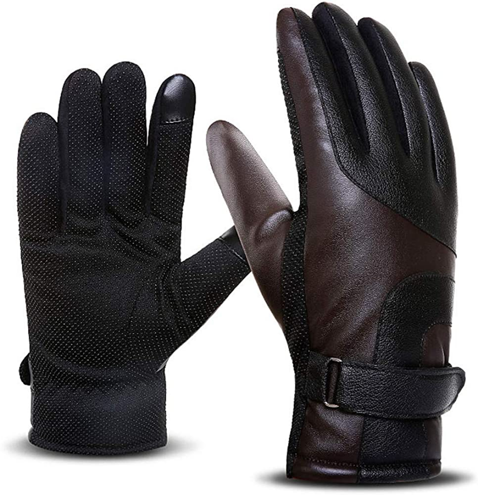 Dizadec Leather Gloves for Men, Winter Warm Touchscreen Cashmere Lined Driving Gloves