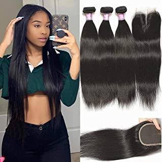 Beauty Forever Hair Virgin Indian Straight Hair 3 Bundles with Closure 8A Unprocessed Human Hair Weave Extension, Middle Part Lace Closure, Natural Color (16 18 20 +14closure)