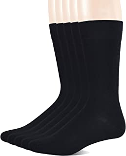 5 Pairs Men's Bamboo Crew Dress Socks with Arch Support and Seamless Toe